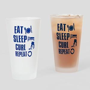 Eat Sleep Curl Drinking Glass