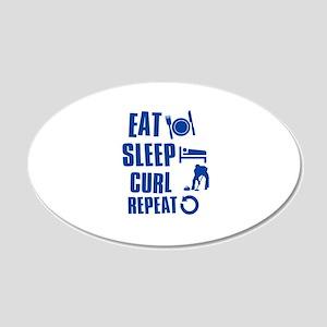 Eat Sleep Curl 20x12 Oval Wall Decal