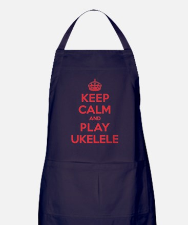 Keep Calm Play Ukelele Apron (dark)