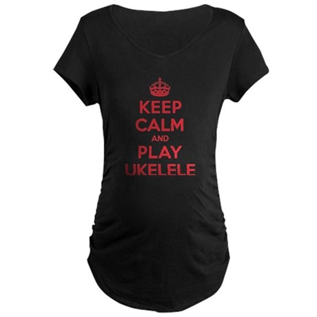 Keep Calm Play Ukelele Maternity Dark T-Shirt