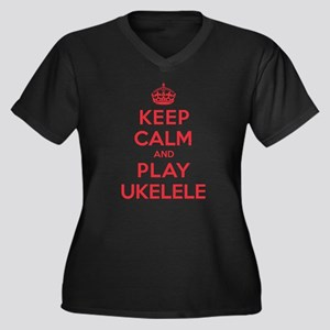 Keep Calm Play Ukelele Women's Plus Size V-Neck Da