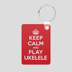Keep Calm Play Ukelele Aluminum Photo Keychain