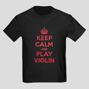 Keep Calm Play Violin Kids Dark T-Shirt