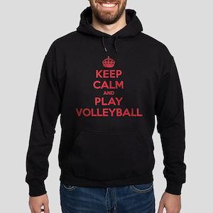 Keep Calm Play Volleyball Hoodie (dark)