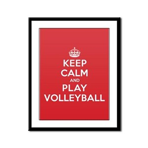 Keep Calm Play Volleyball Framed Panel Print