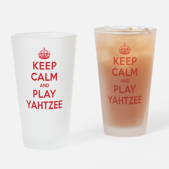 Keep Calm Play Yahtzee Drinking Glass