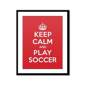 Keep Calm Play Soccer Framed Panel Print