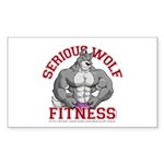 Serious Wolf Fitness Sticker (Rectangle)