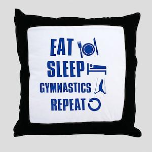 Eat Sleep Gymnastics Throw Pillow