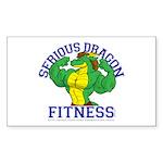 Serious Green Dragon Sticker (Rectangle)
