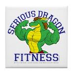 Serious Green Dragon Tile Coaster