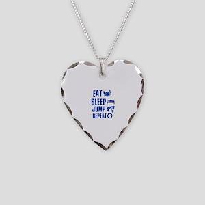 Eat Sleep Jump Necklace Heart Charm