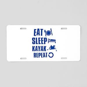 Eat Sleep Kayak Aluminum License Plate