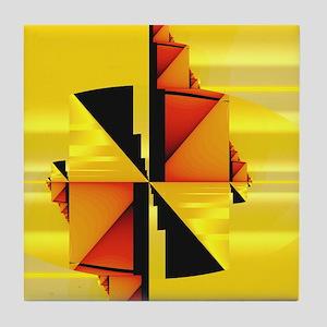"""Mondrian"" Fractal Art Tile Coaster"
