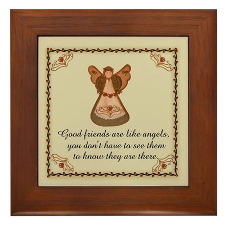 Good Friends are like angels Framed Tile