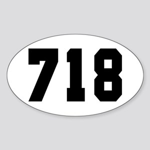 """718"" Oval Sticker"