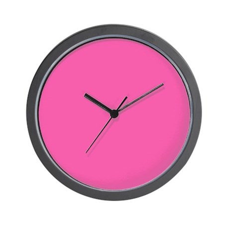 Solid Hot Pink Clock with No Numbers Wall Clock by DigitalRealityArt