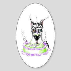 Dane Birthday Harlequin Oval Sticker