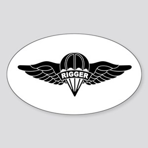 Parachute Rigger B-W Sticker (Oval)