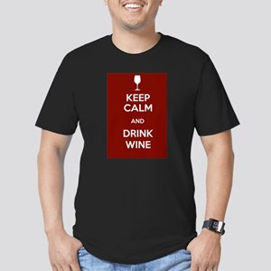 Keep Calm and Drink Wine Men's Fitted T-Shirt (dar