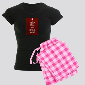 Keep Calm and Drink Wine Women's Dark Pajamas