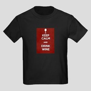Keep Calm and Drink Wine Kids Dark T-Shirt