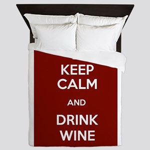 Keep Calm and Drink Wine Queen Duvet