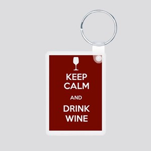 Keep Calm and Drink Wine Aluminum Photo Keychain