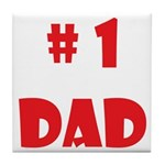 #1Dad (Red) Tile Coaster