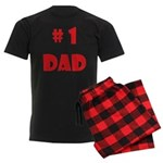#1Dad (Red) Men's Dark Pajamas