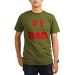#1Dad (Red) Organic Men's T-Shirt (dark)