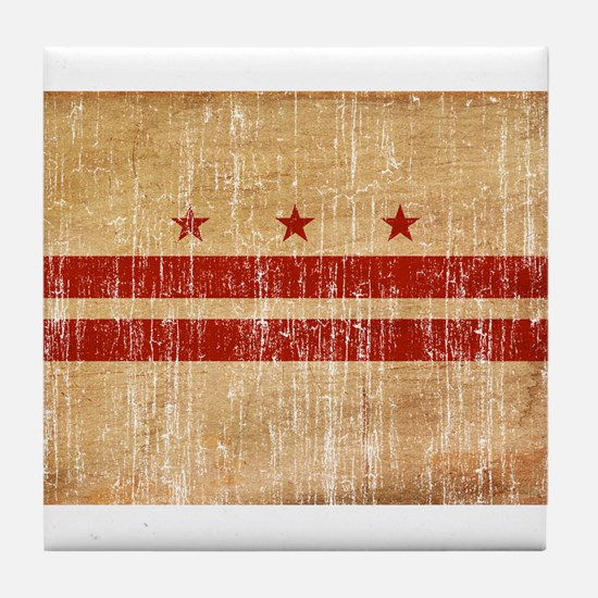 District of Columbia Flag Tile Coaster