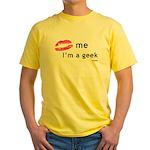 Kiss Me Im a Geek Yellow T-Shirt
