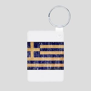 Greece Flag Aluminum Photo Keychain
