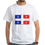 Drapeau Quebec Bleu Rouge White T-Shirt