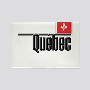 Quebec Red Square Rectangle Magnet