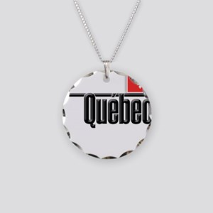 Quebec Red Square Necklace Circle Charm