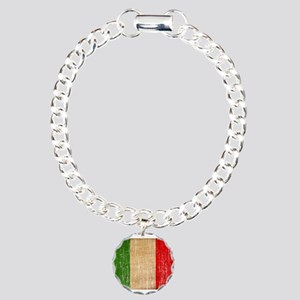 Italy Flag Charm Bracelet, One Charm