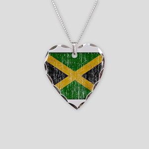 Jamaica Flag Necklace Heart Charm