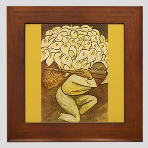Diego Rivera Man Kneeling Basket Art Framed Tile