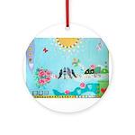 Bird Family Collage Art Ornament (Round)