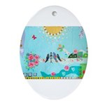 Bird Family Collage Art Ornament (Oval)