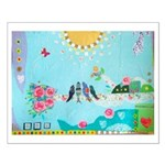 Bird Family Collage Art Small Poster