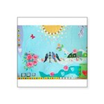 Bird Family Collage Art Square Sticker 3