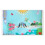 Bird Family Collage Art Sticker (Rectangle 50 pk)