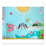 Bird Family Collage Art Square Car Magnet 3