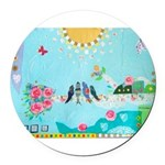Bird Family Collage Art Round Car Magnet