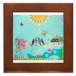 Bird Family Collage Art Framed Tile