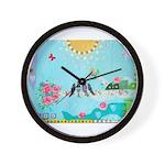 Bird Family Collage Art Wall Clock