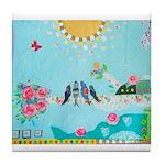 Bird Family Collage Art Tile Coaster
